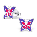 Sterling Silver Pink and Purple Butterfly Stud Earrings Pink and Purple Butterfly - 1 Pair