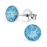 Sterling Silver Sparkly Glitter Ear Stud Earrings Sparkly Glitter Light Blue Round Gem - 1 Pair