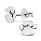 Sterling Silver Cute Paw Print Ear Stud Earrings - SKU 28038