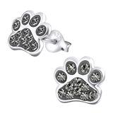 Sterling Silver Cute Jewelled Paw Print Ear Stud Earrings - SKU 28039