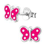 Sterling Silver Pink Butterfly with White Spots Ear Stud Earrings - SKU 28040