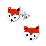 Sterling Silver Fox Stud Earrings Fox - 1 Pair