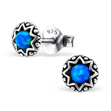 Sterling Silver Round Synthetic Opal Stud Earrings Round Blue Synthetic Opal Stud - 1 Pair