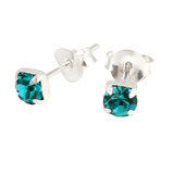 Silver Claw Set Crystal Studs 3mm and 4mm gem (ST8CS) 4mm, Turquoise (ST84-CS)