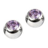 Titanium Threaded Jewelled Balls 1.6x5mm Mirror Polish metal, Light Amethyst Gem. Pack of 2 balls.