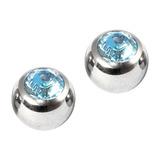 Titanium Threaded Jewelled Balls 1.6x5mm Mirror Polish metal, Light Blue Gem. Pack of 2 balls.