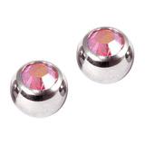 Titanium Threaded Jewelled Balls 1.6x5mm Mirror Polish metal, Rose AB Gem. Pack of 2 balls.