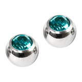 Titanium Threaded Jewelled Balls 1.6x5mm Mirror Polish metal, Turquoise Gem. Pack of 2 balls.