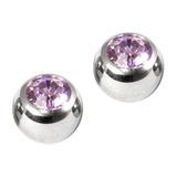 Titanium Threaded Jewelled Balls 1.6x4mm Mirror Polish metal, Lilac Gem. Pack of 2 balls.