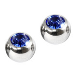 Titanium Threaded Jewelled Balls 1.6x4mm Mirror Polish metal, Sapphire Blue Gem. Pack of 2 balls.