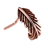 Rose Gold Steel Nose Stud Feather Curl 0.8mm, Oxidised