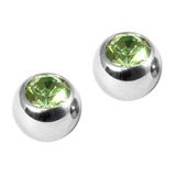 Titanium Threaded Jewelled Balls 1.2x3mm Mirror Polish metal, Light Green Gem. Pack of 2 balls.
