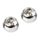 Titanium Threaded Jewelled Balls 1.2x2.5mm Mirror Polish metal, Crystal Clear Gem. Pack of 2 balls.
