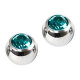 Titanium Threaded Jewelled Balls 1.2x2.5mm Mirror Polish metal, Turquoise Gem. Pack of 2 balls.