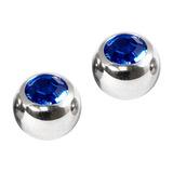 Titanium Threaded Jewelled Balls 1.6x6mm Mirror Polish metal, Capri Blue Gem. Pack of 2 balls.