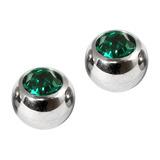 Titanium Threaded Jewelled Balls 1.6x6mm Mirror Polish metal, Dark Green Gem. Pack of 2 balls.