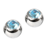 Titanium Threaded Jewelled Balls 1.6x6mm Mirror Polish metal, Light Blue Gem. Pack of 2 balls.
