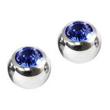 Titanium Threaded Jewelled Balls 1.6x6mm Mirror Polish metal, Sapphire Blue Gem. Pack of 2 balls.