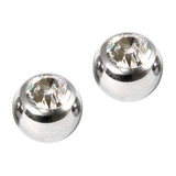 Titanium Threaded Jewelled Balls 1.2x4mm Mirror Polish metal, Crystal Clear Gem. Pack of 2 balls.