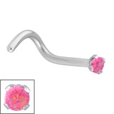 Steel Claw Set Synthetic Opal Nose Stud 0.8mm, Pink Opal