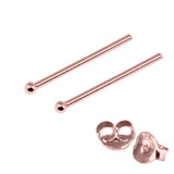 Rose Gold Plated Silver Ear Studs with Ball RG-ST4 RG-ST5 RG-ST6 RG-ST7 RG-ST 4. 1.0mm Ball. 1 Pair.