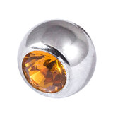 Steel Threaded Jewelled Balls 1.6x6mm amber