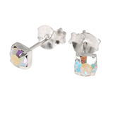 Silver Claw Set Crystal Studs 3mm and 4mm gem (ST8CS) 4mm, Crystal AB(ST84-CS)