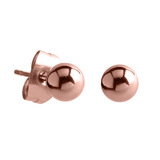Rose Gold Steel Stud Earrings with Ball 3mm Shiny Ball, 1 Pair.