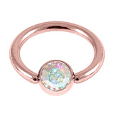 Rose Gold Steel Jewelled Ball Closure Ring (BCR) (Rose Gold colour PVD) 1.2mm, 8mm, 4mm / Crystal AB