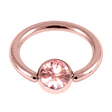 Rose Gold Steel Jewelled Ball Closure Ring (BCR) (Rose Gold colour PVD) 1.2mm, 8mm, 4mm / Light Pink