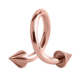 Rose Gold Steel Coned Spiral (Rose Gold colour PVD) 1.2mm, 8mm, 3mm