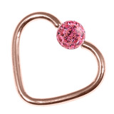 Rose Gold Steel Glitzy Continuous Heart Rings (Rose Gold colour PVD) 1.0mm, 10mm, 4mm, Pink