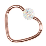 Rose Gold Steel Glitzy Continuous Heart Rings (Rose Gold colour PVD) 1.2mm, 10mm, 4mm, Crystal AB