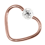 Rose Gold Steel Glitzy Continuous Heart Rings (Rose Gold colour PVD) 1.2mm, 10mm, 4mm, Crystal Clear