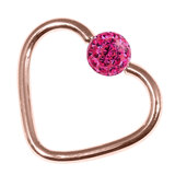 Rose Gold Steel Glitzy Continuous Heart Rings (Rose Gold colour PVD) 1.2mm, 10mm, 4mm, Fuchsia