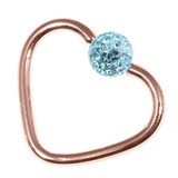 Rose Gold Steel Glitzy Continuous Heart Rings (Rose Gold colour PVD) 1.2mm, 10mm, 4mm, Light Blue