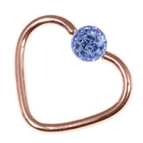 Rose Gold Steel Glitzy Continuous Heart Rings (Rose Gold colour PVD) 1.2mm, 10mm, 4mm, Sapphire Blue
