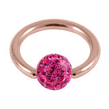 Rose Gold Steel BCR with Smooth Glitzy Ball 1.2mm - SKU 28670