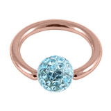 Rose Gold Steel BCR with Smooth Glitzy Ball 1.2mm - SKU 28671