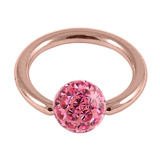 Rose Gold Steel BCR with Smooth Glitzy Ball 1.2mm - SKU 28678