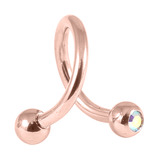 Rose Gold Steel Double Jewelled Spirals 1.2mm (Rose Gold colour PVD) 1.2mm, 10mm, Crystal AB