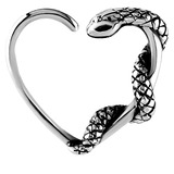 Steel Snake Continuous Heart Rings 1.2mm, 10mm, For LEFT ear.