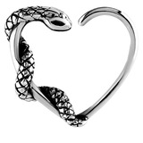Steel Snake Continuous Heart Rings 1.2mm, 10mm, For RIGHT ear.