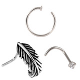 Multipack - Steel Nose Curl, Ring and Stud Set 0.8mm 0.8
