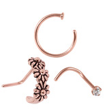 Multipack - Rose Gold Steel Nose Curl, Ring and Stud Set 0.8mm 0.8