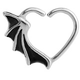 Steel Bat Wing Continuous Heart Ring 1.2mm, 10mm