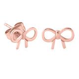 Rose Gold Steel Bow Ear Stud Earrings - SKU 28805