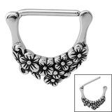 Steel Flowers Nipple Clicker Ring 1.6mm, 14mm, Flowers