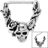 Steel Skull with Rose Nipple Clicker Ring 1.6mm, 14mm, Skull with Rose