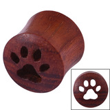 Organic Eyelet Tunnel Rengas Wood with Paw Print (OE19) 14mm